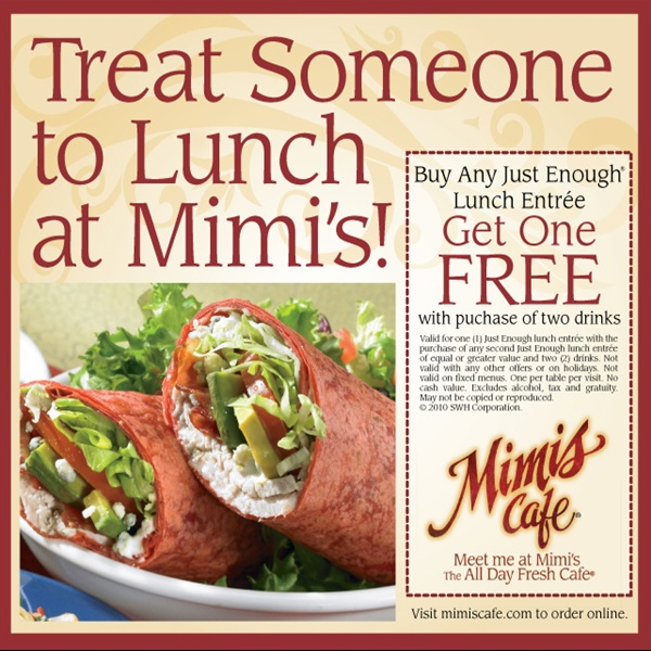 photograph about Mimi's Coupons Printable known as Mimi\\s Restaurant Printable Coupon Printable Coupon codes
