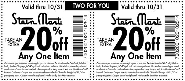 Stein mart coupons february 2018