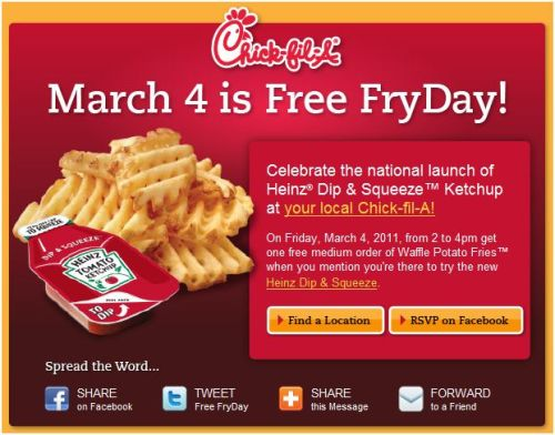 Friday is FREE Waffle Fry-Day at Chick-Fil-A! | Frugal in
