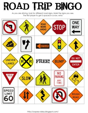 Free Road Trip Printable Bingo Game