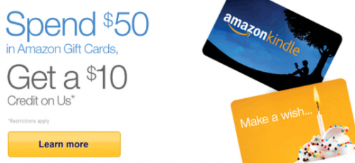 Amazon Gift Cards Free 10 with 50