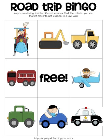 Free Road Trip Printable Bingo Game