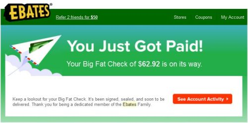 Ebates Big Fat Check