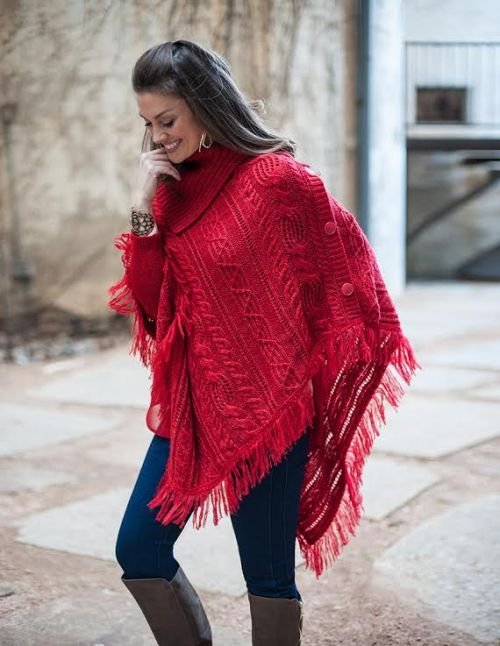 Red Poncho Sharon Young Ladies Designer Brand Warehouse Sale